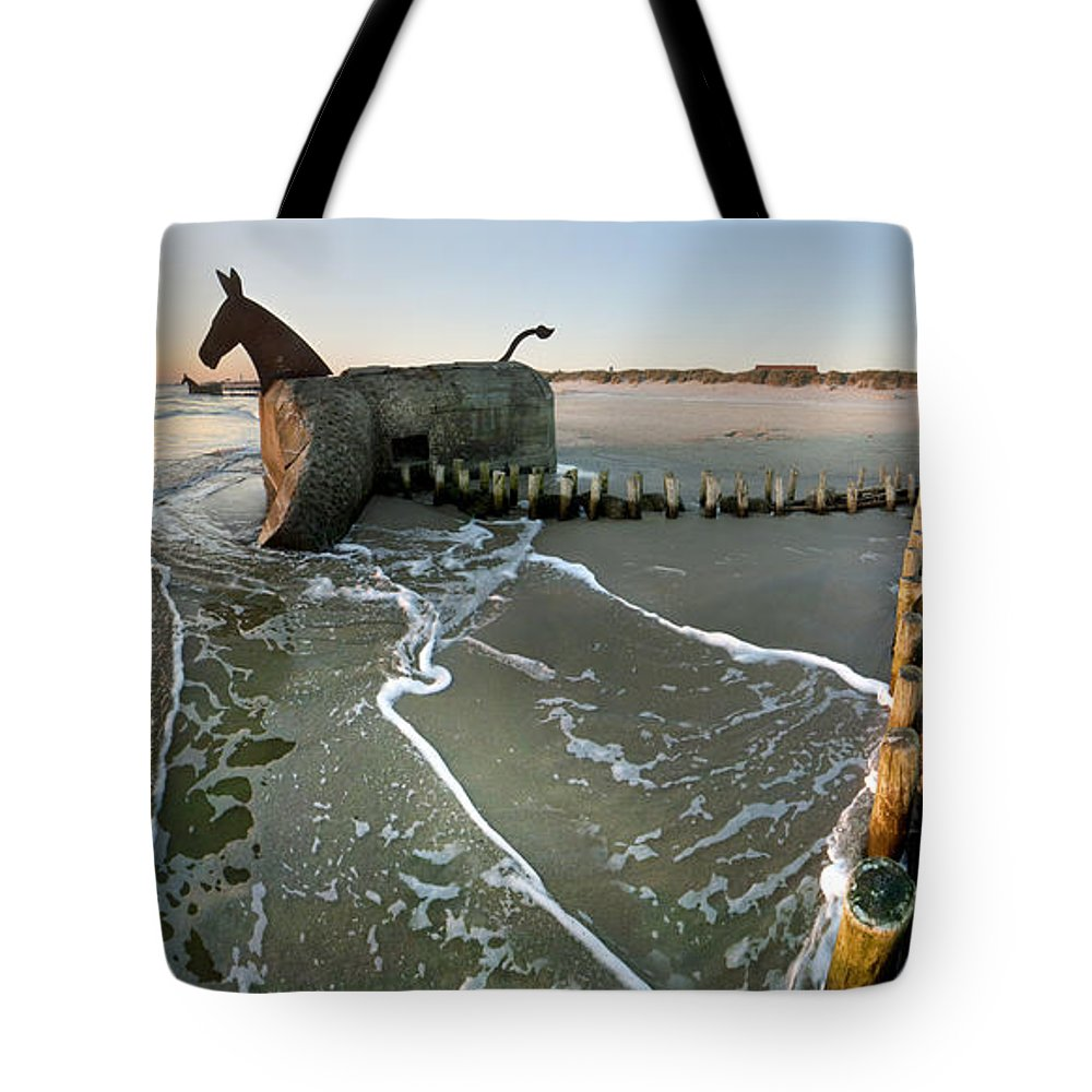 Jutland Tote Bag featuring the photograph The Mules At Blaavand by Robert Lacy
