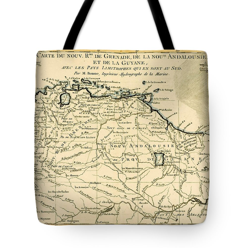 Maps Tote Bag featuring the drawing The New Kingdoms Of Grenada by Guillaume Raynal