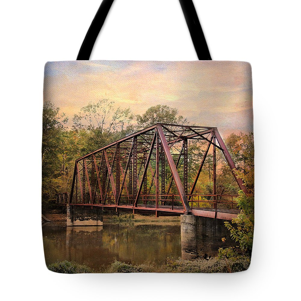 Autumn Tote Bag featuring the photograph The Old Iron Bridge by Jai Johnson
