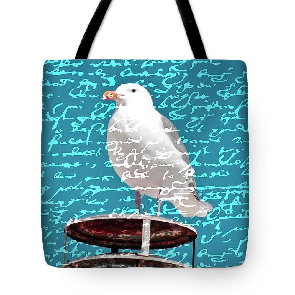 Seagulls Tote Bag featuring the photograph The Onlooker by Debra Miller