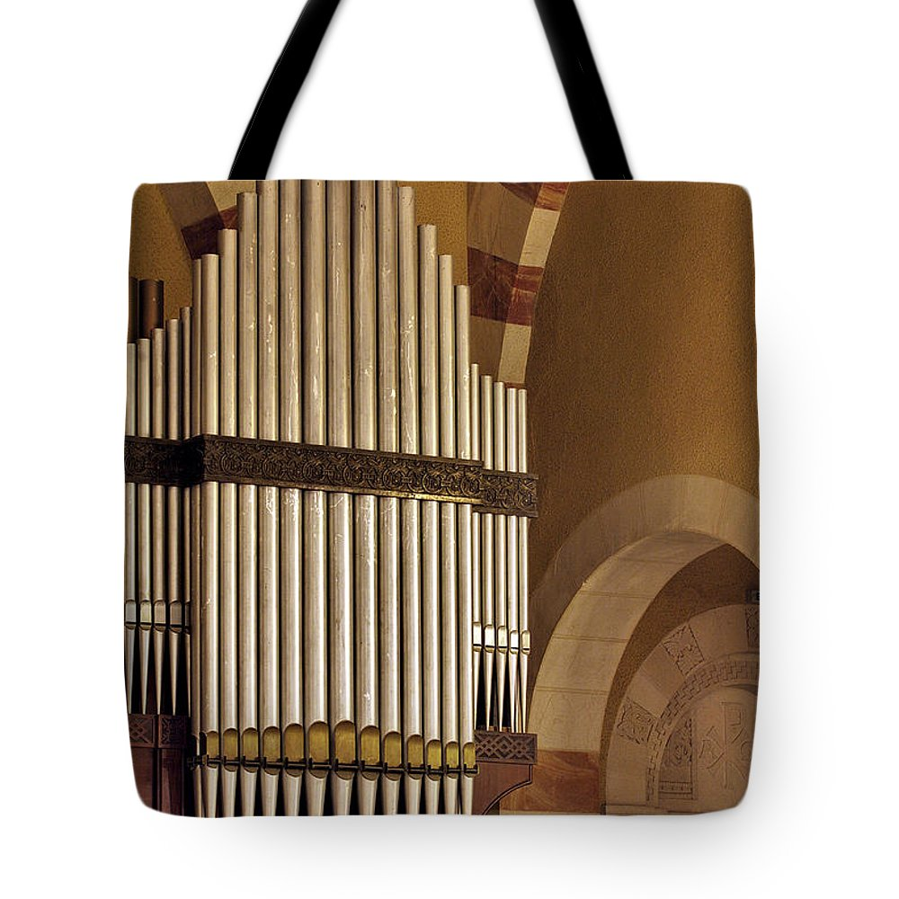 Psi Tote Bag featuring the photograph the Organ Augusta Victoria Jerusalem by Vladi Alon