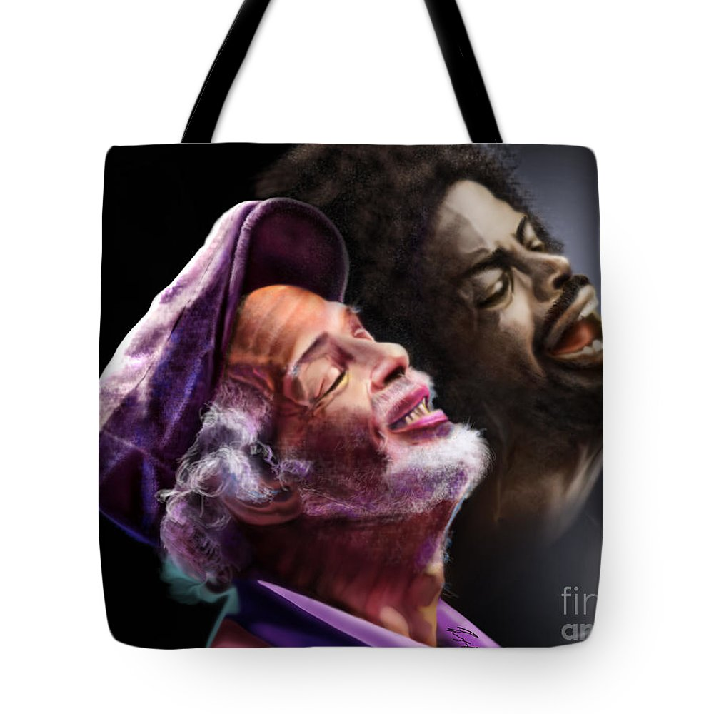 Gil Scot Heron Tote Bag featuring the painting The Other Side-gil Scott Finally Going Home by Reggie Duffie