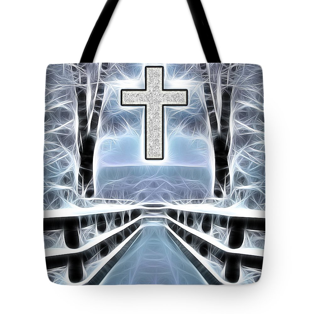 Jesus Tote Bag featuring the mixed media The Path by Stephen Younts