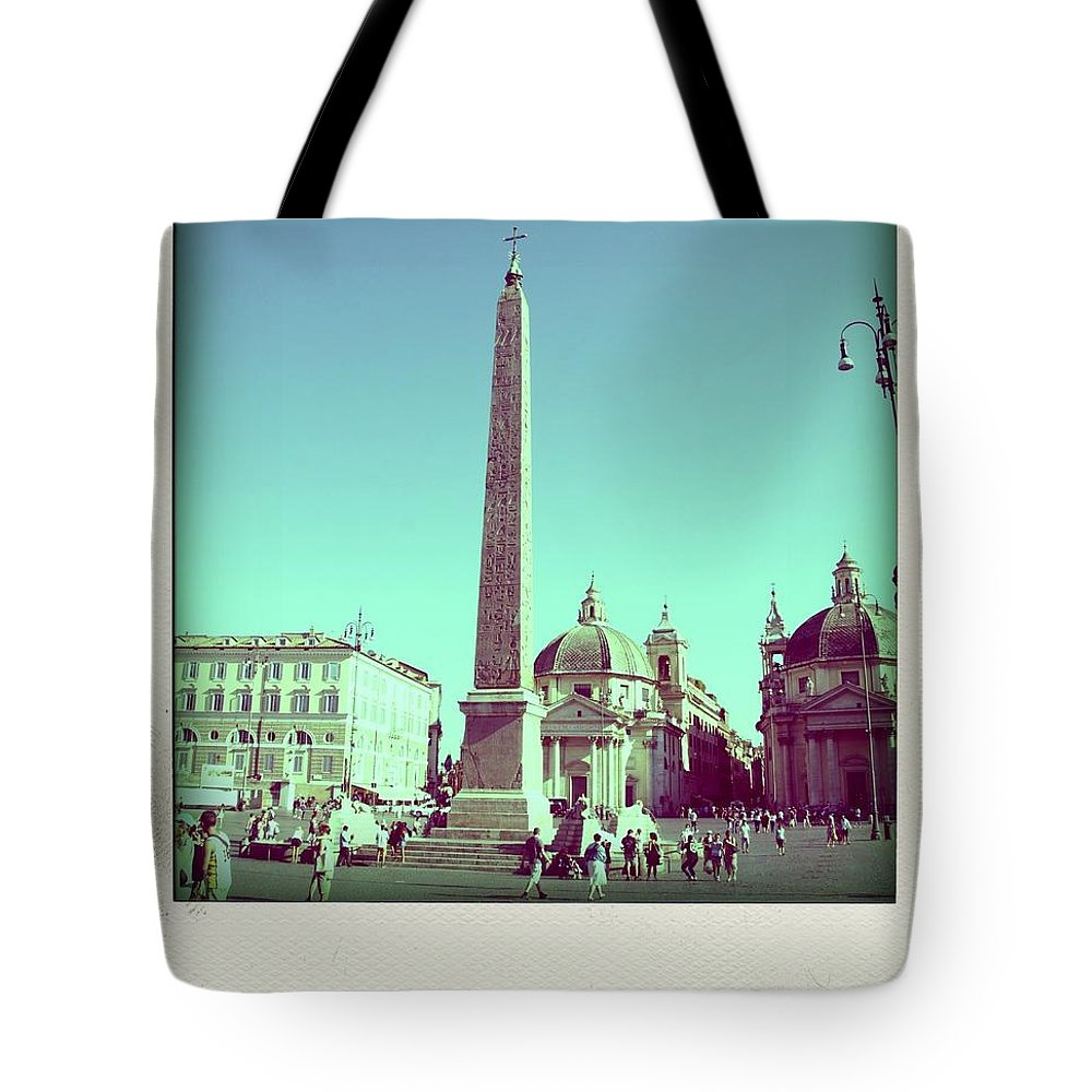 Church Cityscape Obelisk Piazza Del Popolo Steet Taxi Town Square Tourists Tourist Tourism The Squares Square Rome Popolo Piazza Persons Person People Outdoor Obelisks Italy Humans Human Exteriors Exterior Europe During Del Daytime Daylight Day Buildings Building Beings Being Architecture Piazza Del Popolo Tote Bag featuring the photograph The Piazza Del Popolo. Rome by Bernard Jaubert