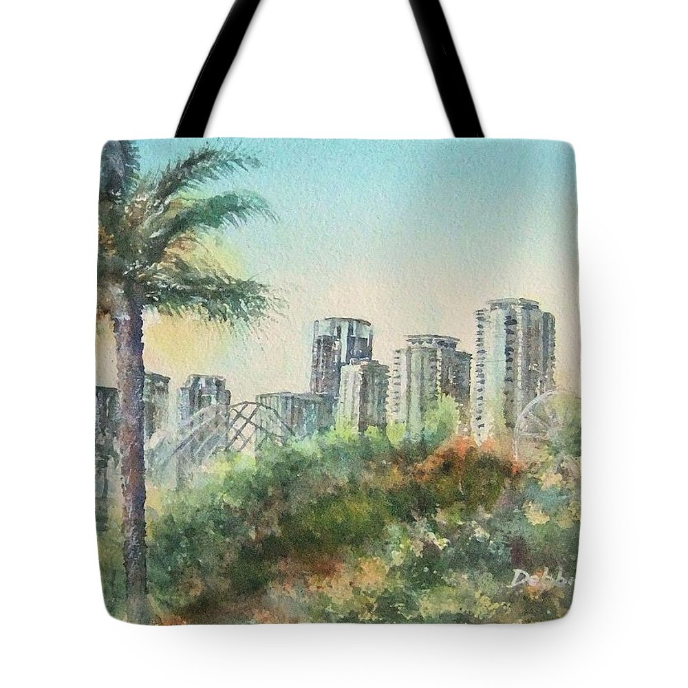 The Pike Tote Bag featuring the painting The Pike And Downtown Long Beach by Debbie Lewis