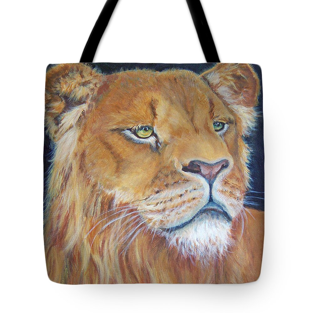 Lion Tote Bag featuring the painting The Prince by Alina Martinez-beatriz