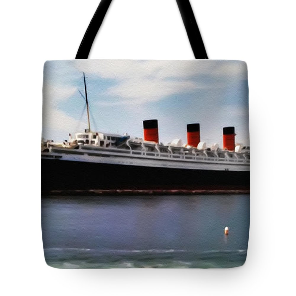 The Queen Mary Tote Bag featuring the photograph The Queen Mary by Bill Cannon