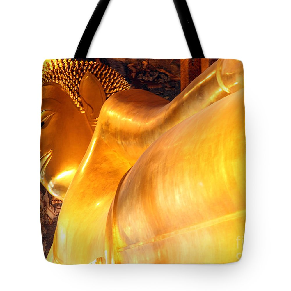 The Reclining Buddha Tote Bag featuring the photograph The Reclining Buddha by Milena Boeva