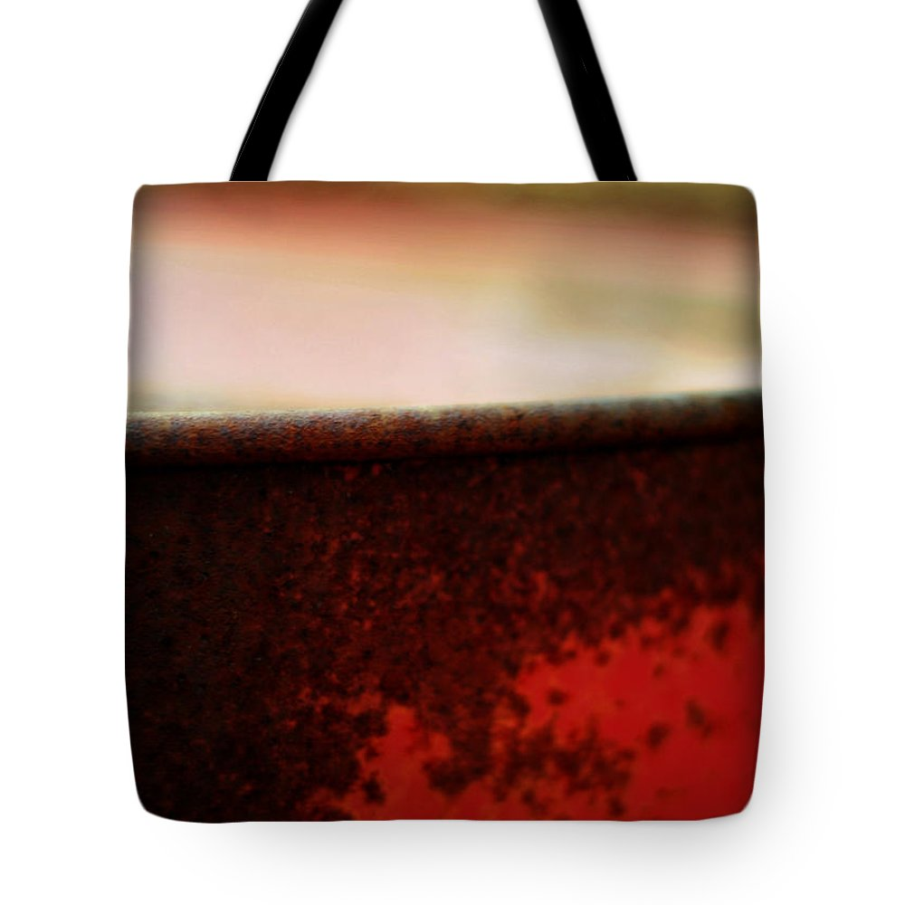 Red Tote Bag featuring the photograph The Red Barrel by Rebecca Sherman