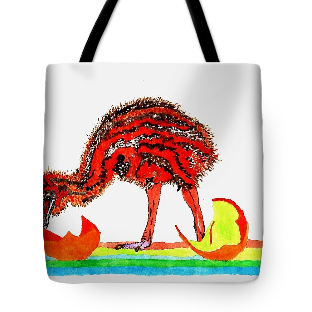 Red Bird Tote Bag featuring the painting The Red Bird by Connie Valasco