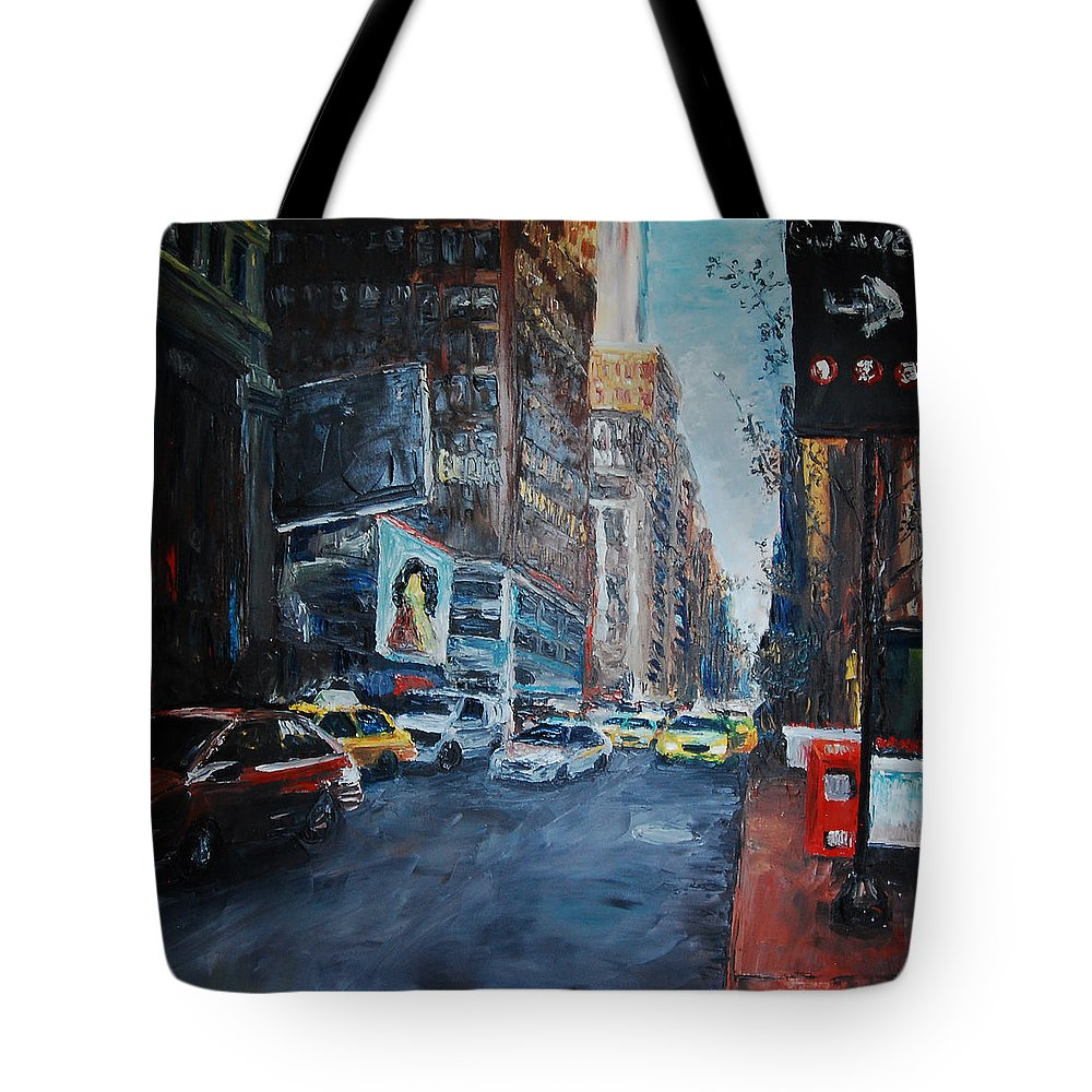 New York City Tote Bag featuring the painting The Red Line by Lauren Luna
