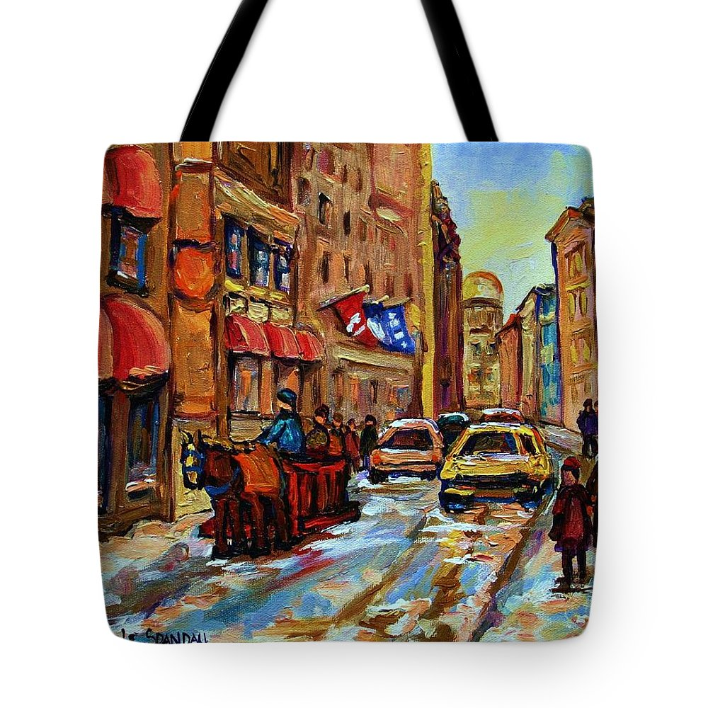 Horses Tote Bag featuring the painting The Red Sled by Carole Spandau