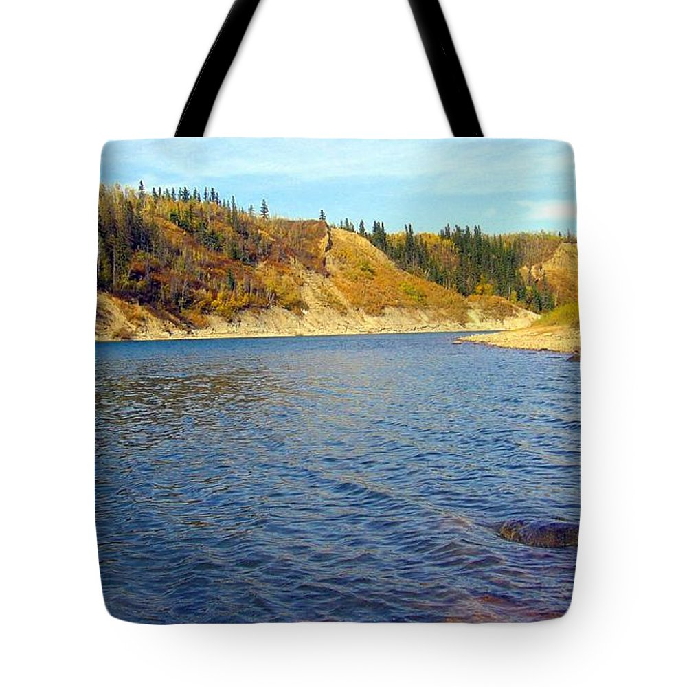 Nature Tote Bag featuring the photograph The River In Autumn by Jim Sauchyn