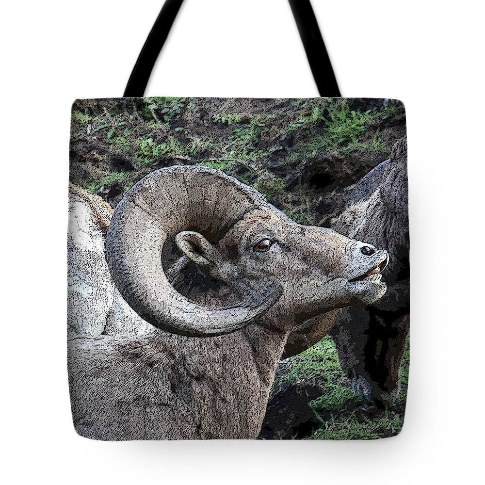 Ram Tote Bag featuring the photograph The Scent Of Danger by Steve McKinzie