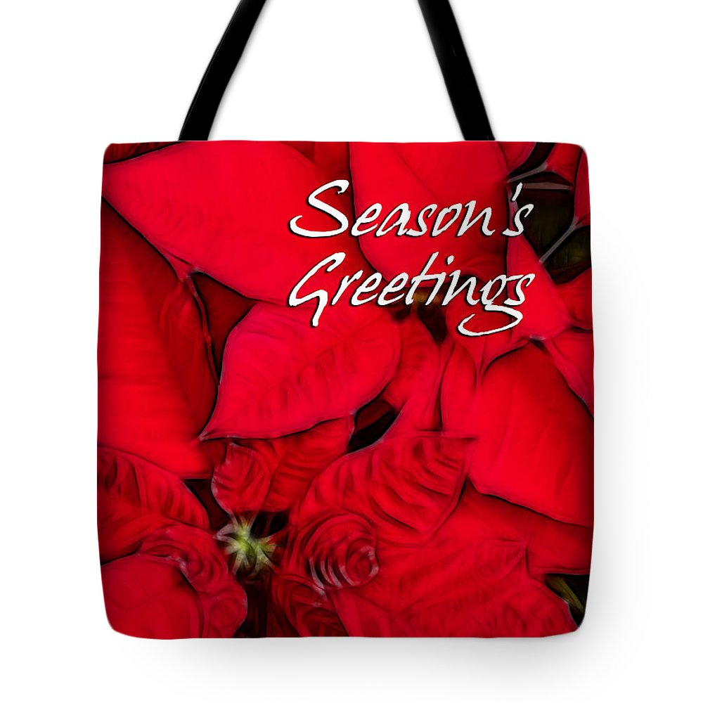 Poinsettia Tote Bag featuring the photograph The Season's Velvet Touch by Blair Wainman