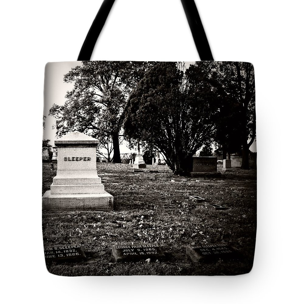 Graveyard Tote Bag featuring the photograph The Sleeper Family by Chris Berry
