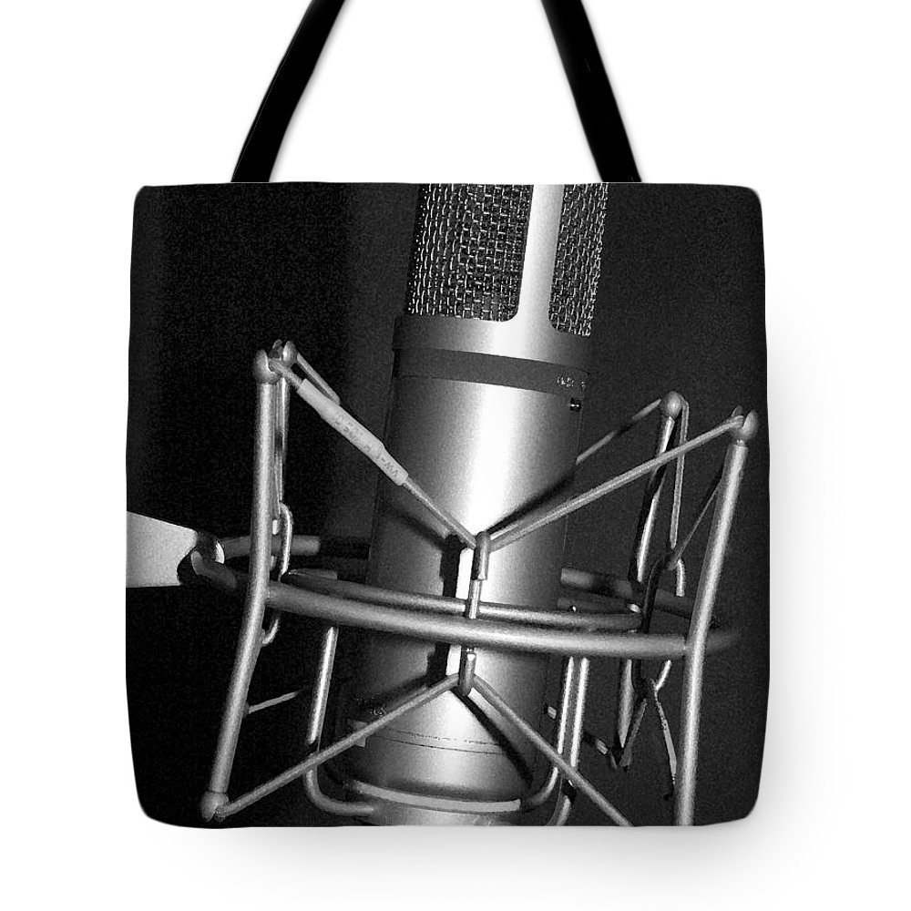 Microphone Tote Bag featuring the photograph The Sound by Steev Stamford
