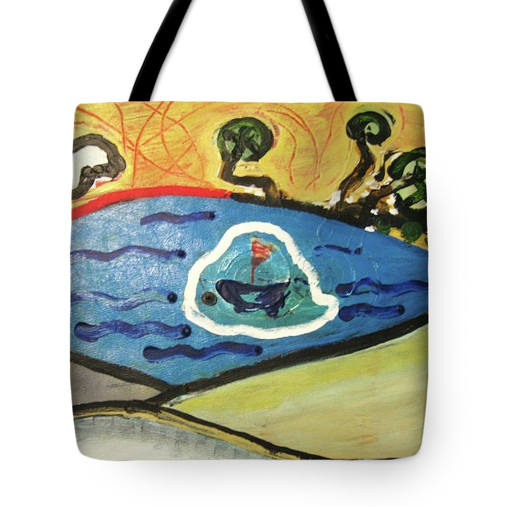 Moon Paintings Tote Bag featuring the painting The Sun And A Boat Painting by Seon-Jeong Kim