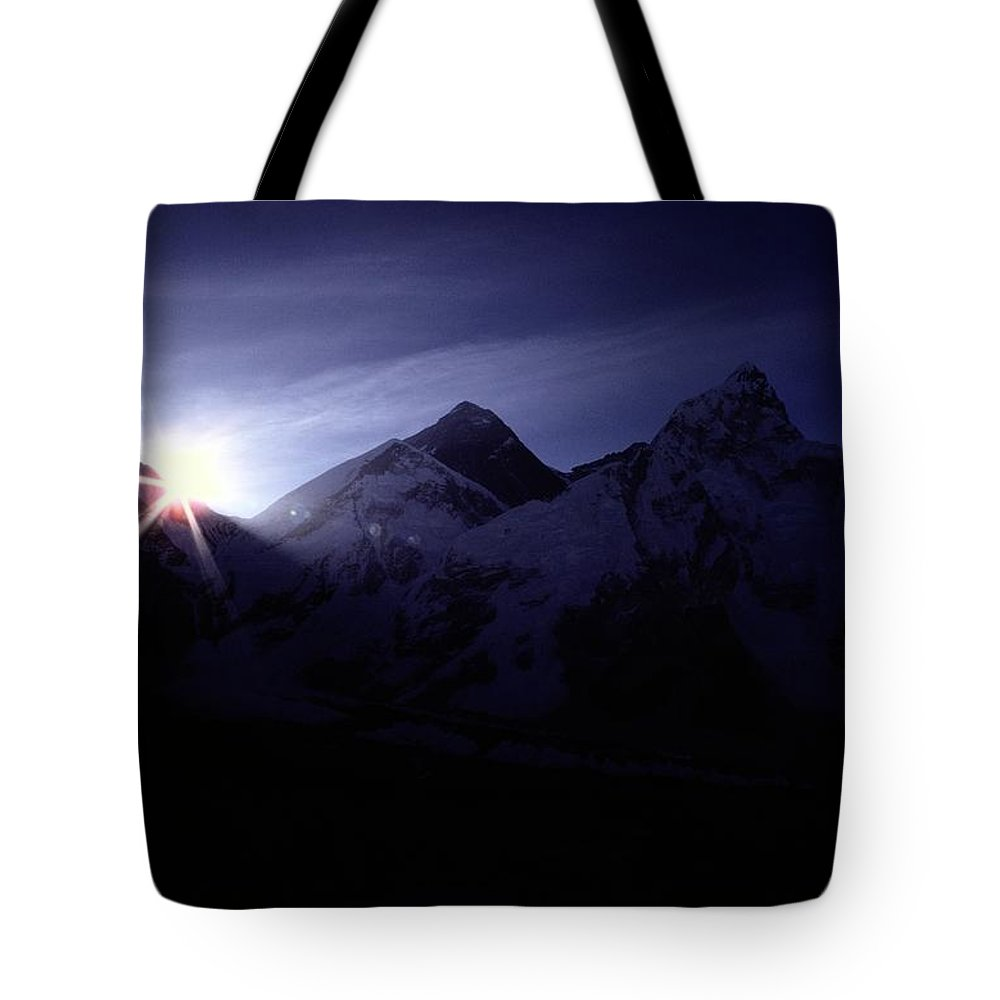 mount Everest Tote Bag featuring the photograph The Sun Rising Over The Snow-covered by Tim Laman