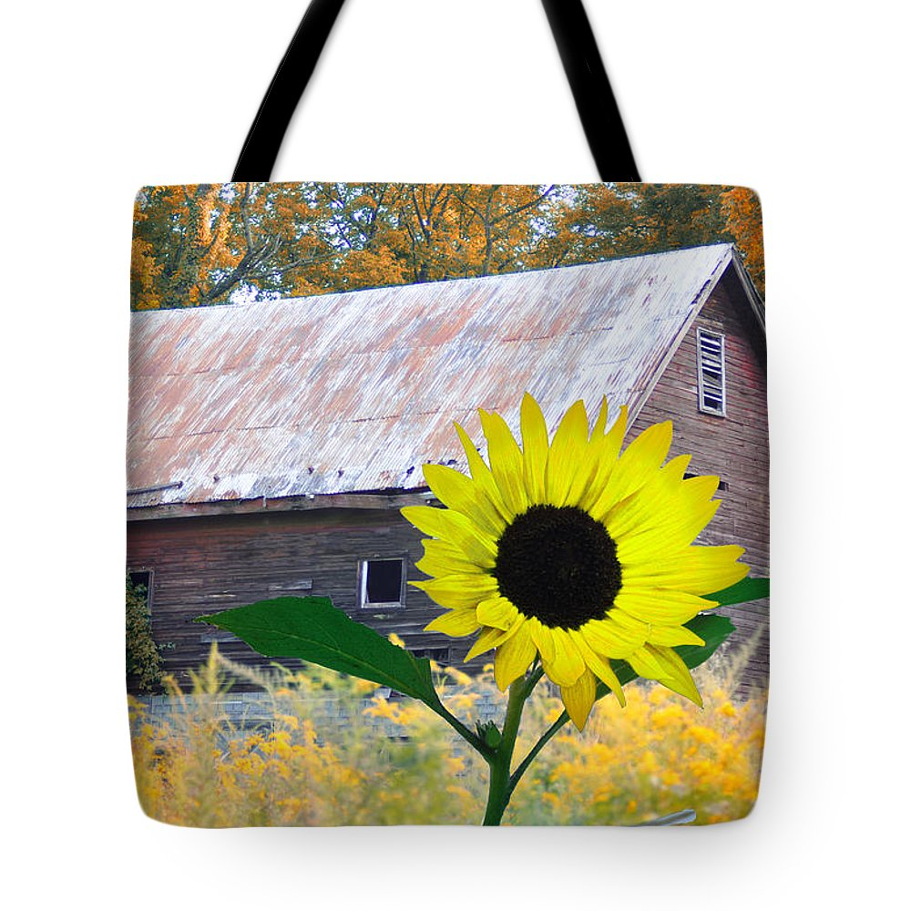 Sunflower Tote Bag featuring the photograph The Sunflower And The Barn by Bill Cannon