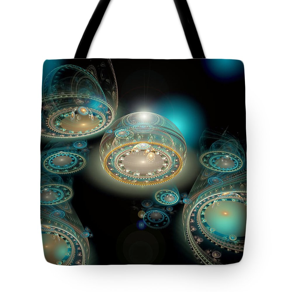 Fractal Art Tote Bag featuring the digital art The Terminal by Adam Vance