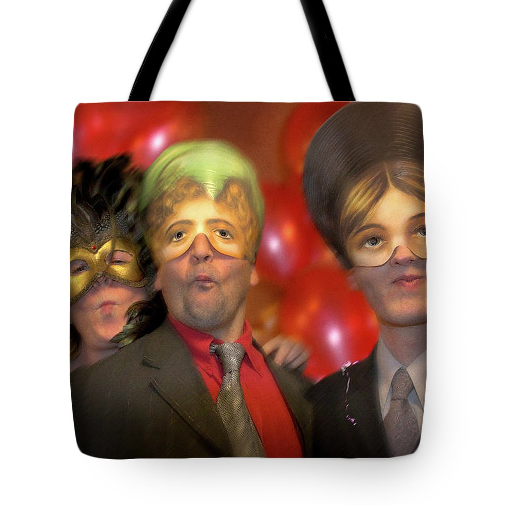 Mask Tote Bag featuring the photograph The Three Masketeers by Richard Piper