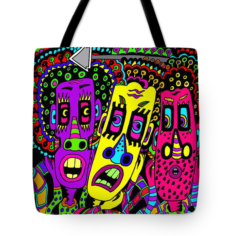 Lifelife Tote Bag featuring the painting The Three Of Us by Karen Elzinga