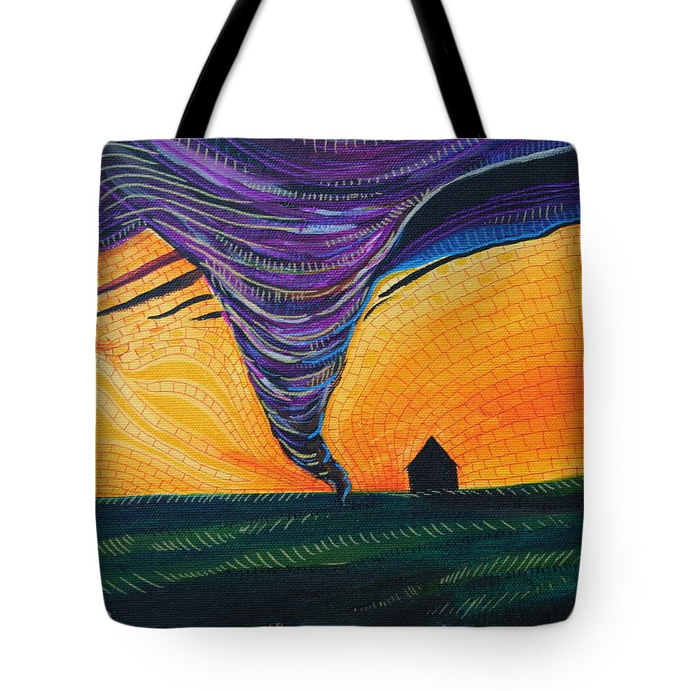 Wizard Of Oz Tote Bag featuring the painting The Tornado by Kate Fortin