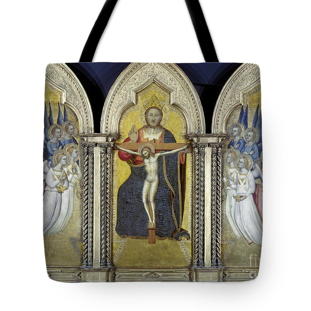 Adoring Angel Tote Bag featuring the photograph The Trinity With Angels by Granger