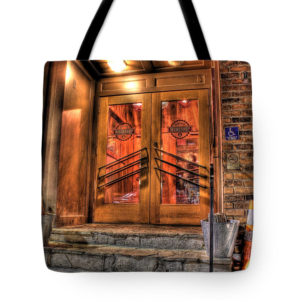 Tote Bag featuring the photograph The Union Woodshop Clarkston Mi by Nicholas Grunas