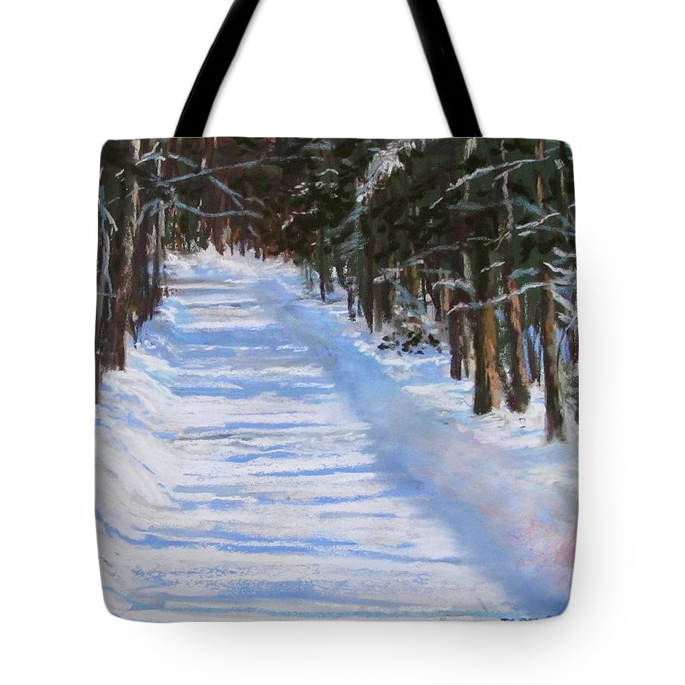 Snow Tote Bag featuring the painting The Valley Road by Jack Skinner