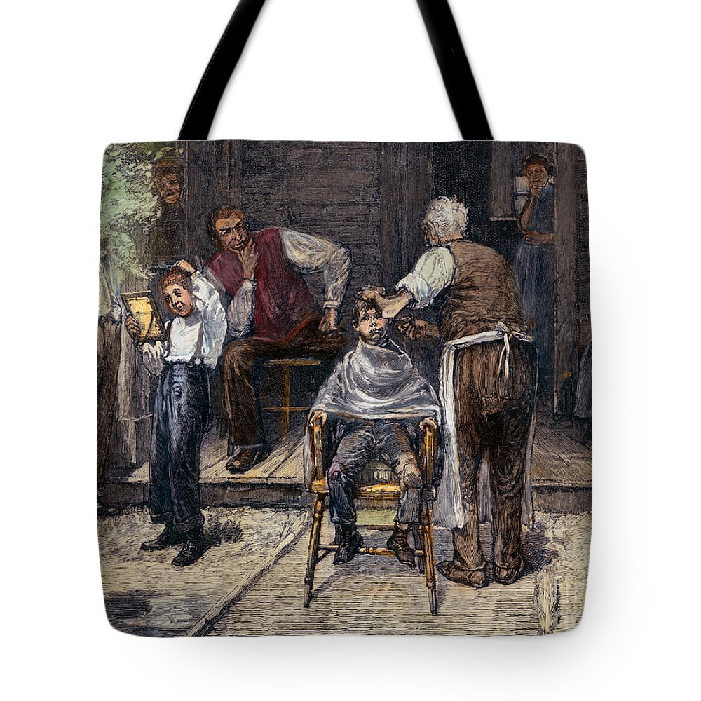 1883 Tote Bag featuring the photograph The Village Barber, 1883 by Granger