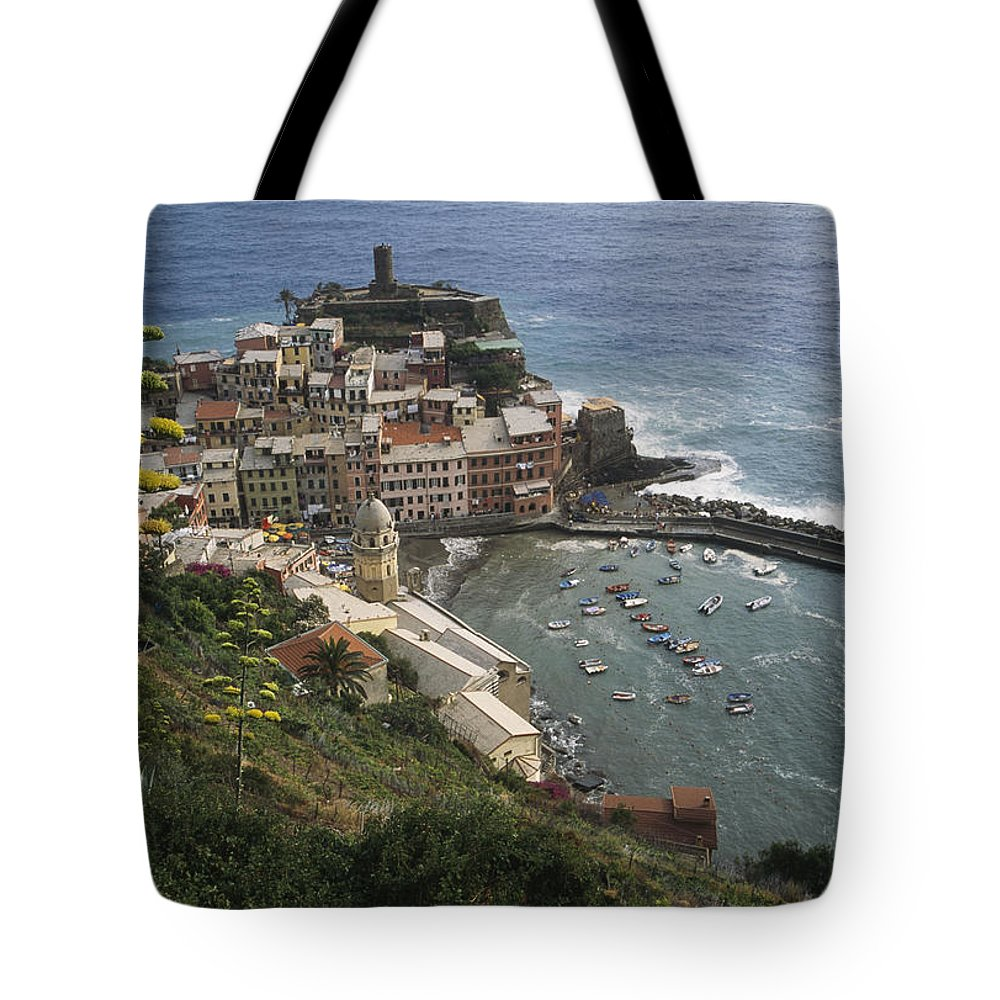 Europe Tote Bag featuring the photograph The Village Of Vernazaa On Italys by Anne Keiser