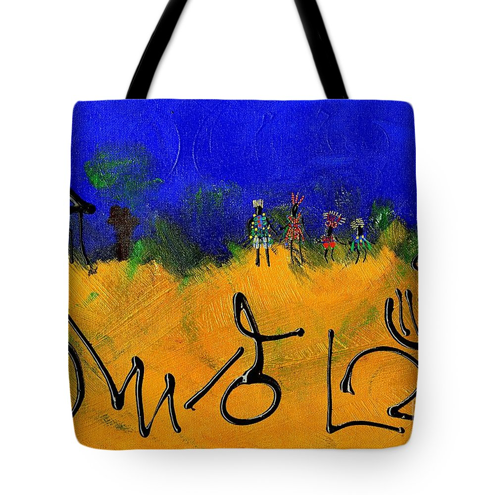 Home Tote Bag featuring the painting The Village People Head Home by Angela L Walker