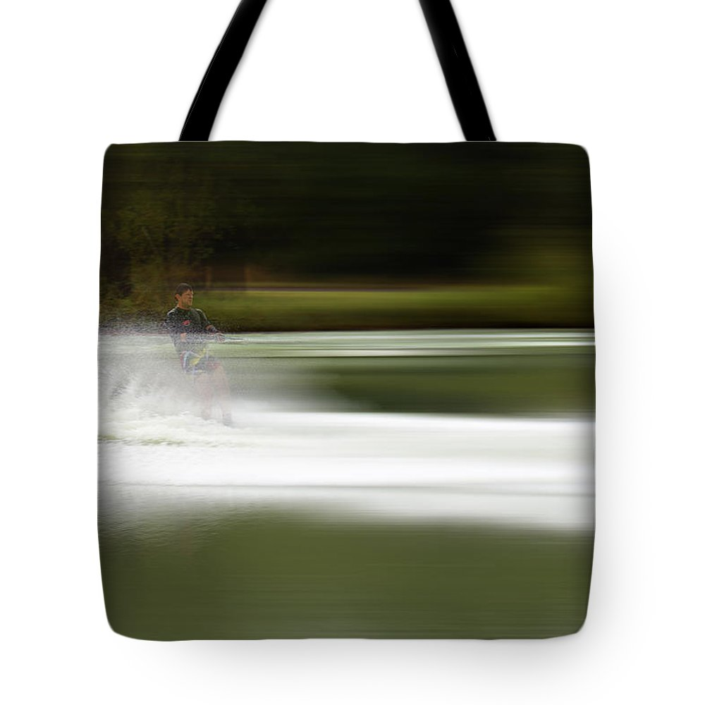 The Water Skier Tote Bag featuring the photograph The Water Skier 2 by Douglas Barnard