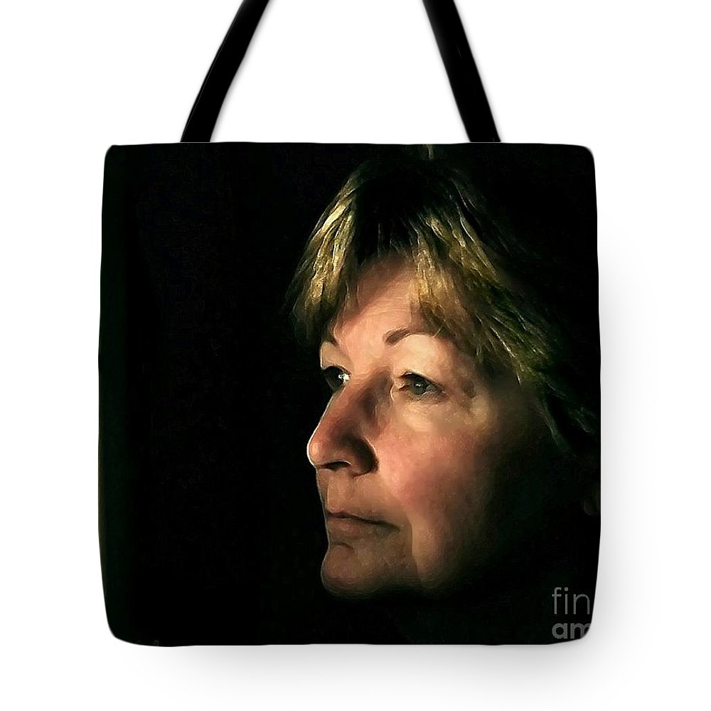 Self-portrait Tote Bag featuring the digital art The Window by Dale  Ford