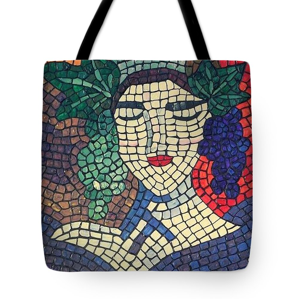 Wine Tote Bag featuring the painting The Winery by Cynthia Amaral