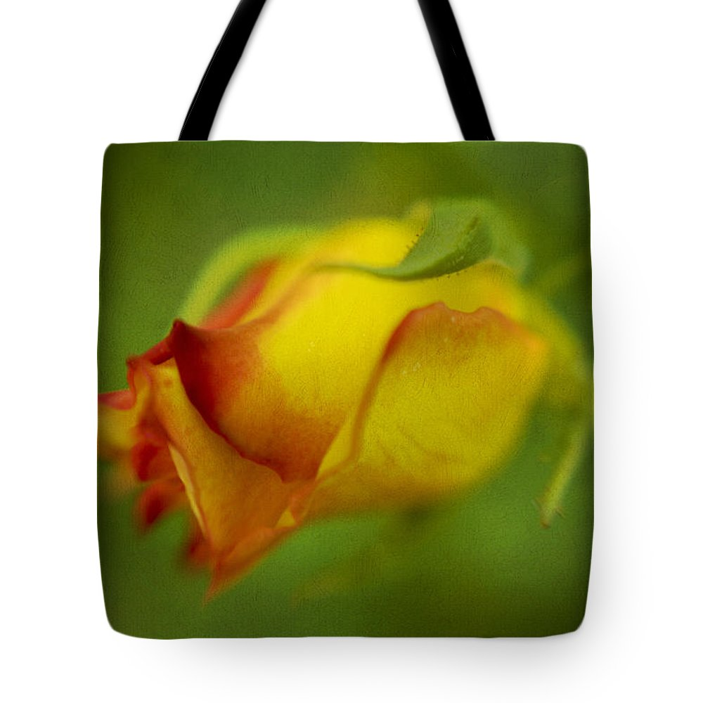 Yellow Tote Bag featuring the digital art The Yellow Rose by Diane Dugas