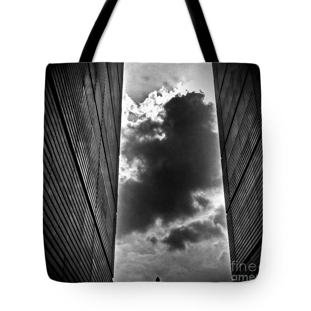 Black/white Tote Bag featuring the photograph There Is Something Out There... by Michele Mule'