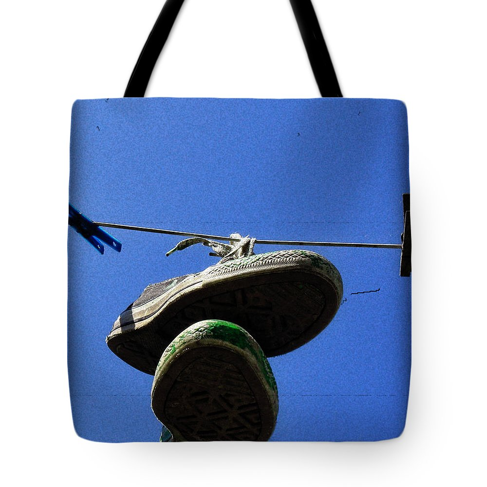 Sneakers Tote Bag featuring the photograph These Old Things Blue by Kristie Bonnewell