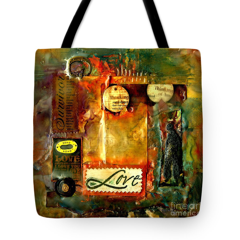 Wood Tote Bag featuring the mixed media Thinking Of You With Love by Angela L Walker