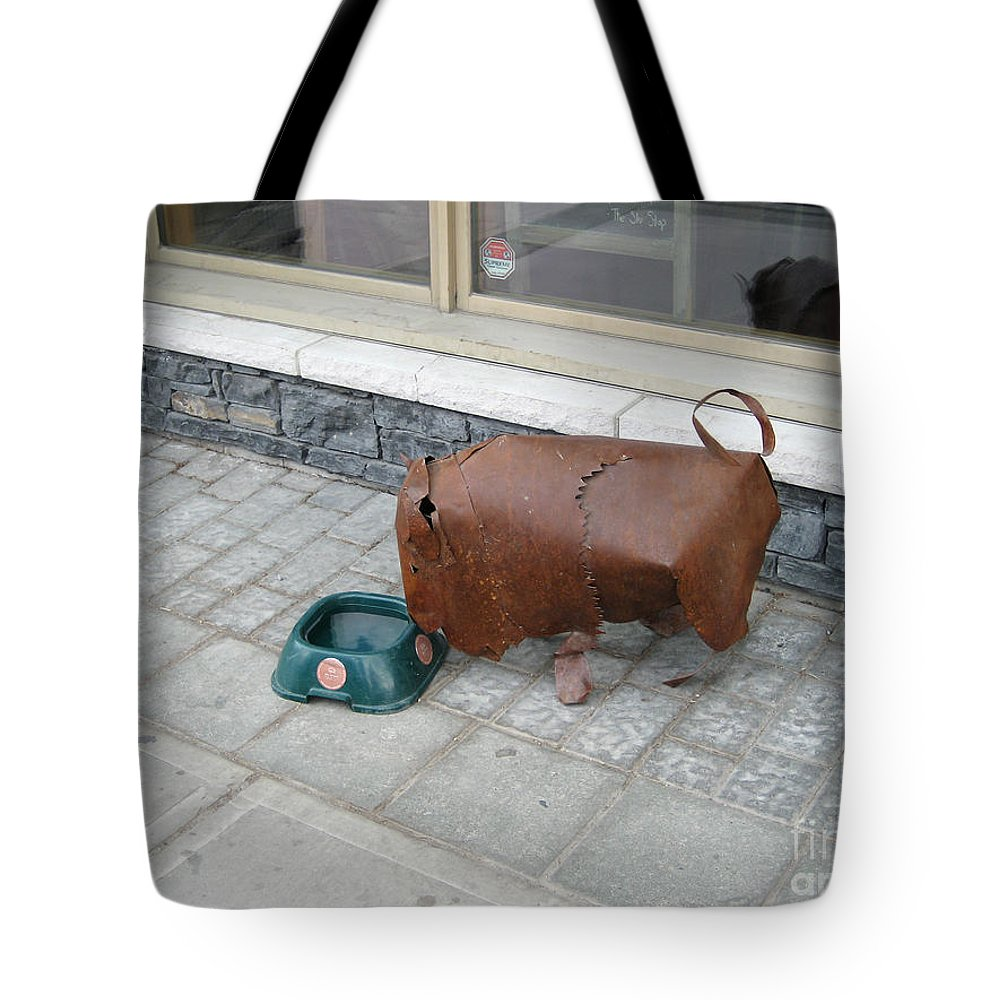 Bison Tote Bag featuring the photograph Thirsty Bison by Bob and Nancy Kendrick
