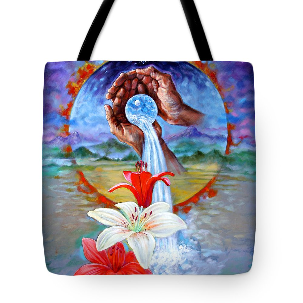 Planet Tote Bag featuring the painting This Little Blue Planet by John Lautermilch