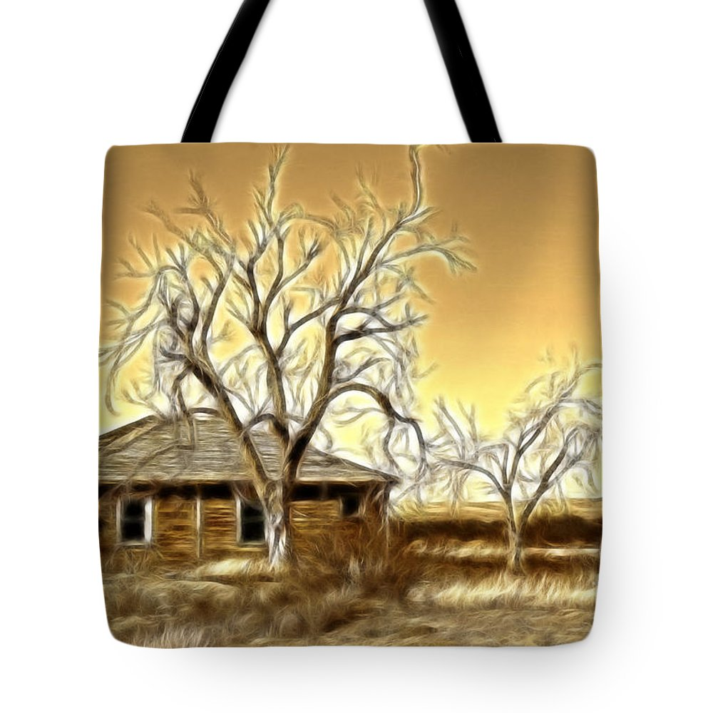 Fine Art Photography Tote Bag featuring the photograph This Old House Fractal by Donna Greene