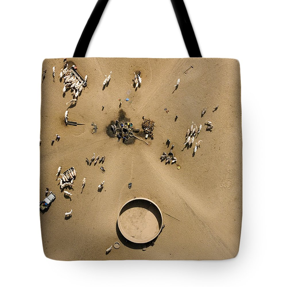 Landscape Tote Bag featuring the photograph This Saharan Well Attracts Livestock by Michael Fay