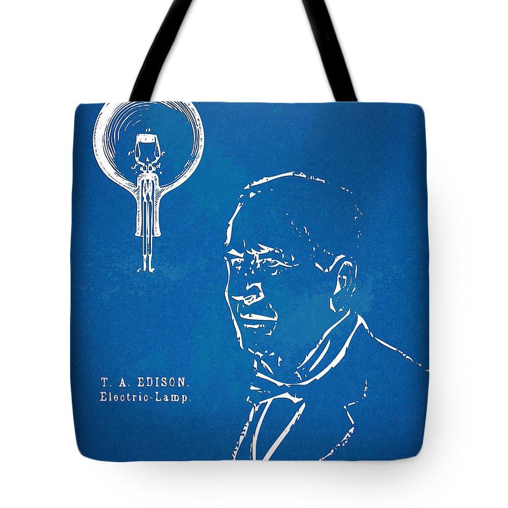 Thomas Edison;edison Tote Bag featuring the digital art Thomas Edison Lightbulb Patent Artwork by Nikki Marie Smith