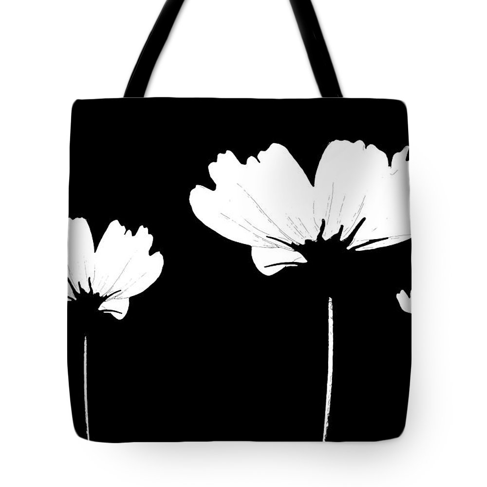 Wildflower Tote Bag featuring the mixed media Three Feeling White by Angelina Vick