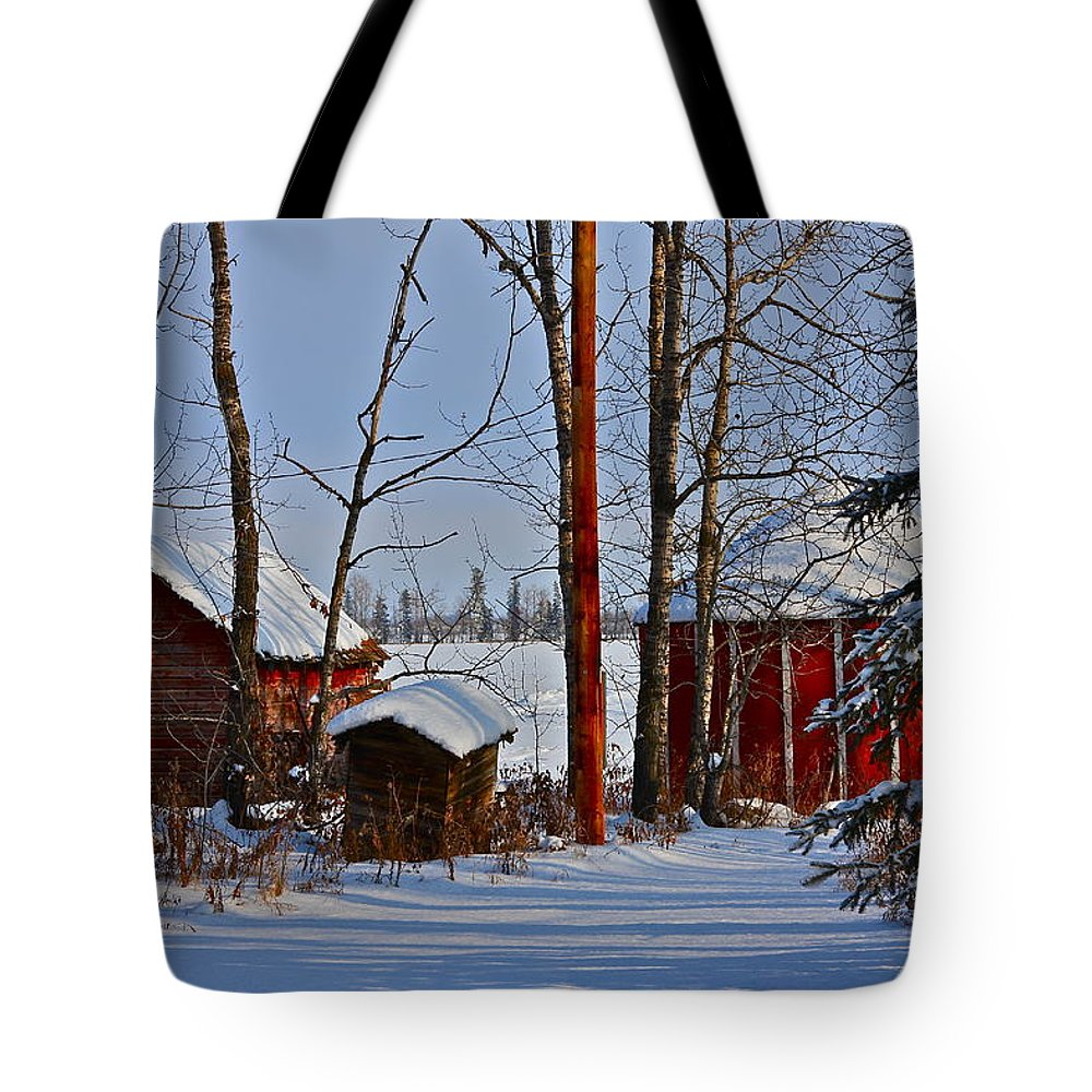 Snow Tote Bag featuring the photograph Three Little Houses by Johanna Bruwer