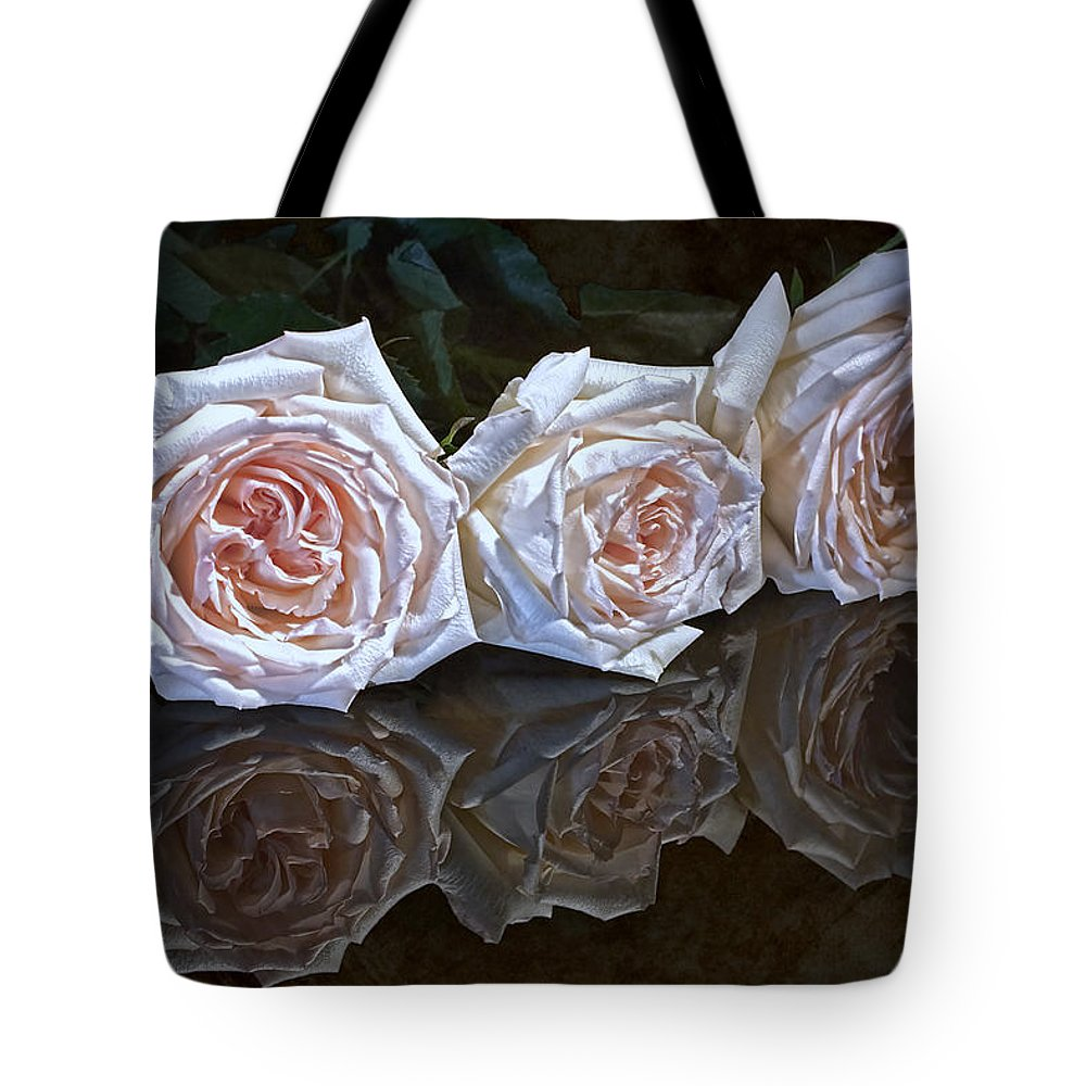 Arrangement Tote Bag featuring the photograph Three Roses Still Life by Tom Mc Nemar