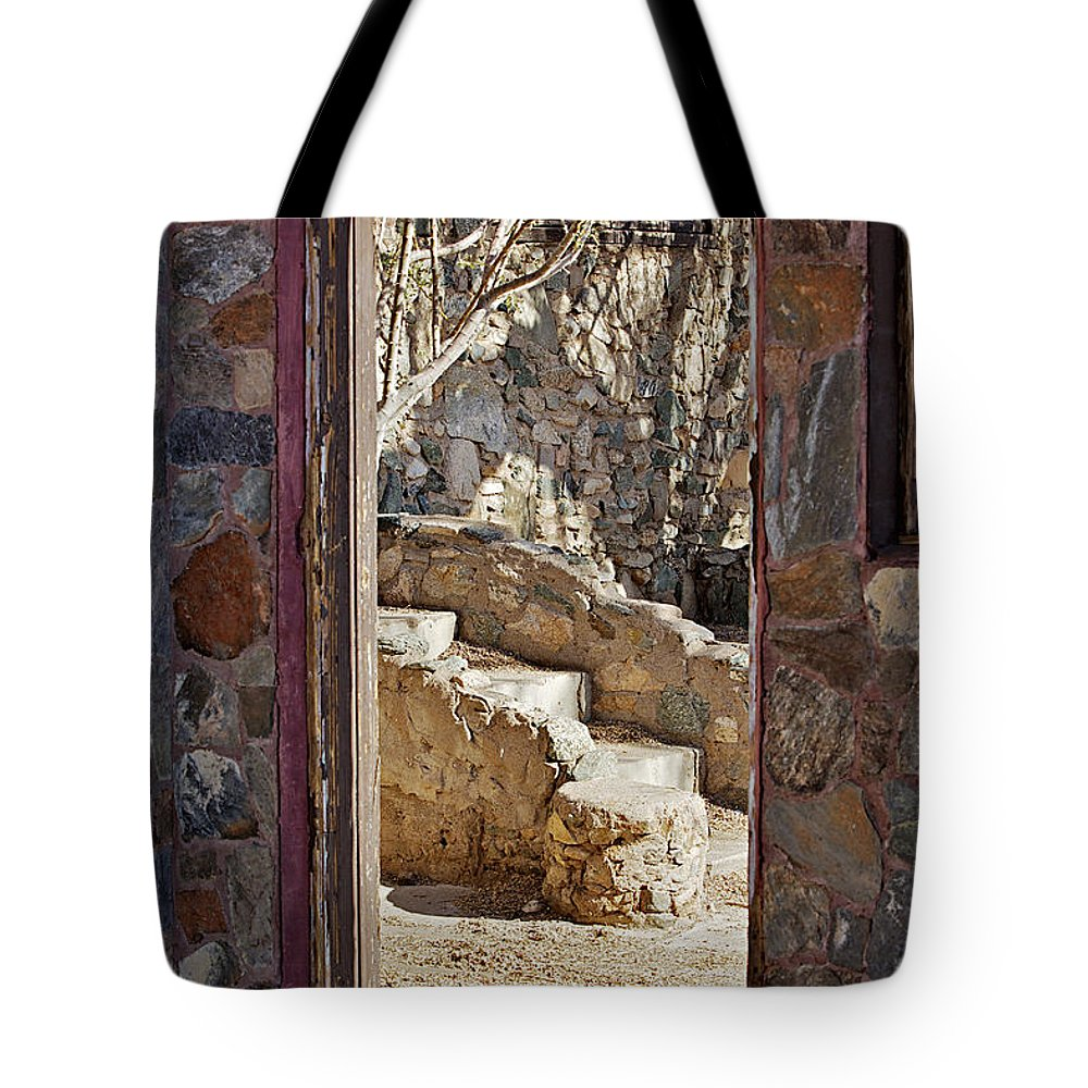 Doorway Tote Bag featuring the photograph Through The Doorway by Phyllis Denton